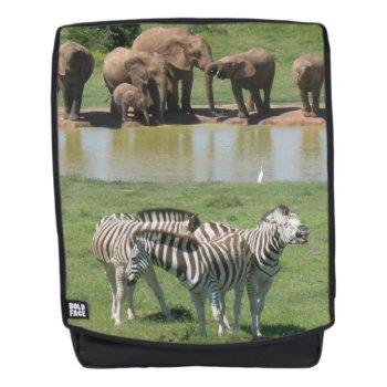 African Elephants And Zebras Adult Backpack by Edelhertdesigntravel at Zazzle