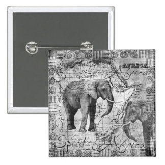 African Elephants 2 Inch Square Button