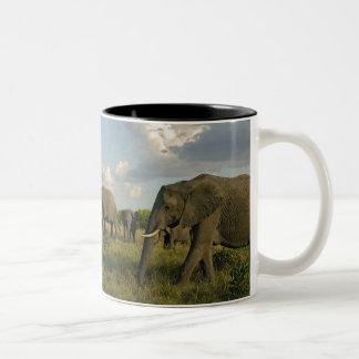 African Elephants grazing, Loxodonta africana, Two-Tone Coffee Mug