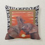 African Elephants inlove sunset with Zabra Patten Throw Pillow