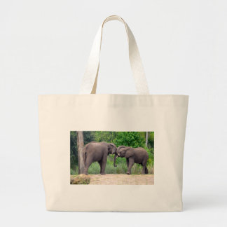African Elephants Interacting Large Tote Bag