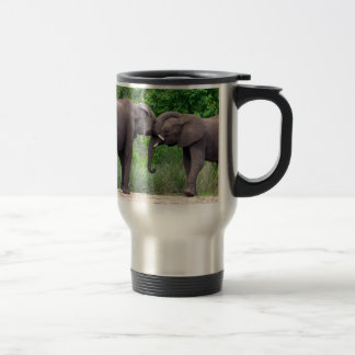 African Elephants Interacting Travel Mug