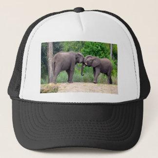 African Elephants Interacting Trucker Hat