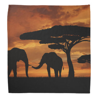 African elephants silhouettes in sunset bandana
