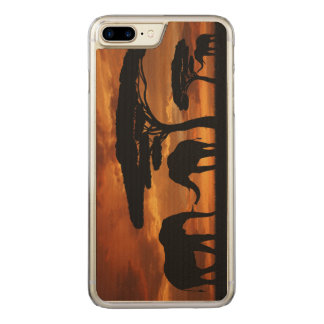 African elephants silhouettes in sunset carved iPhone 7 plus case