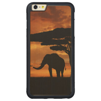 African elephants silhouettes in sunset carved® maple iPhone 6 plus bumper case