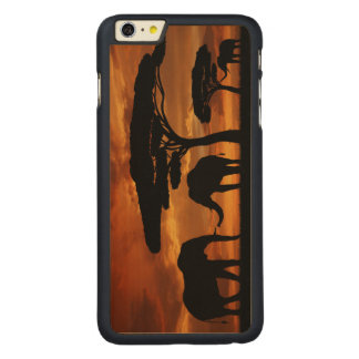 African elephants silhouettes in sunset carved® maple iPhone 6 plus case