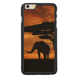 African elephants silhouettes in sunset carved® maple iPhone 6 plus slim case