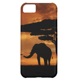 African elephants silhouettes in sunset case for iPhone 5C