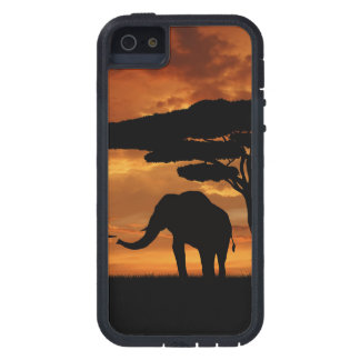 African elephants silhouettes in sunset case for iPhone SE/5/5s