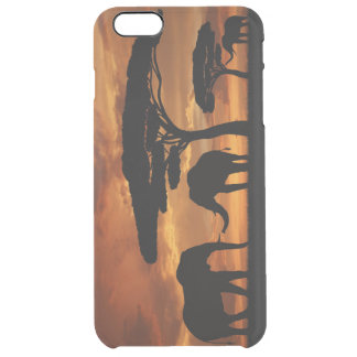 African elephants silhouettes in sunset clear iPhone 6 plus case