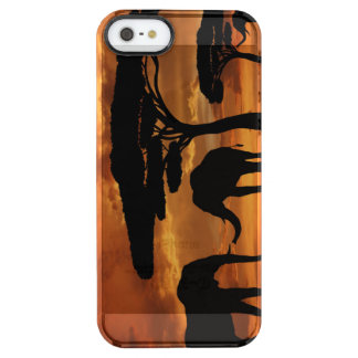 African elephants silhouettes in sunset clear iPhone SE/5/5s case
