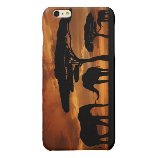 African elephants silhouettes in sunset glossy iPhone 6 plus case