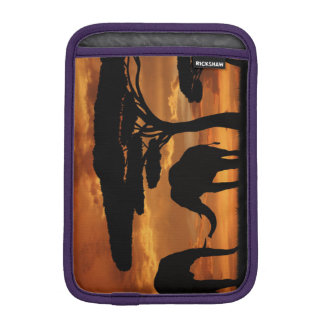 African elephants silhouettes in sunset iPad mini sleeves