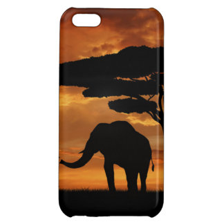 African elephants silhouettes in sunset iPhone 5C cases