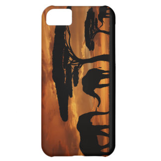 African elephants silhouettes in sunset iPhone 5C cover