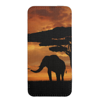 African elephants silhouettes in sunset iPhone SE/5/5s/5c pouch