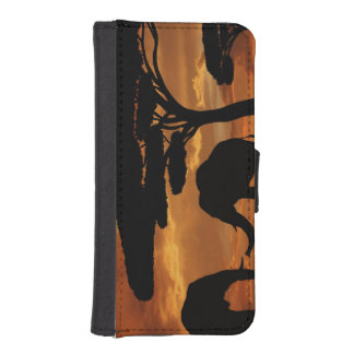 African elephants silhouettes in sunset iPhone SE/5/5s wallet case