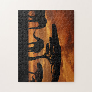 African elephants silhouettes in sunset jigsaw puzzle