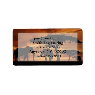 African elephants silhouettes in sunset label