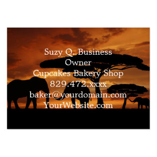 African elephants silhouettes in sunset large business card