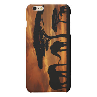 African elephants silhouettes in sunset matte iPhone 6 plus case