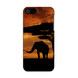 African elephants silhouettes in sunset metallic phone case for iPhone SE/5/5s