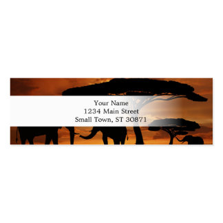African elephants silhouettes in sunset mini business card
