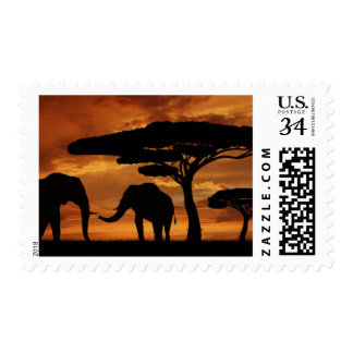 African elephants silhouettes in sunset postage stamp