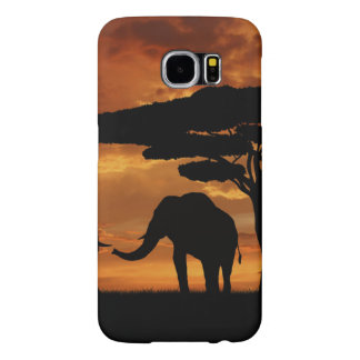 African elephants silhouettes in sunset samsung galaxy s6 case
