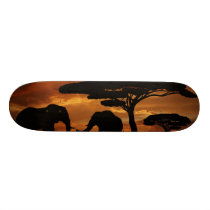 African elephants silhouettes in sunset skateboard deck