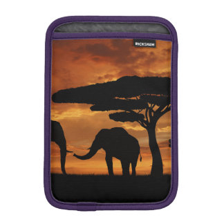 African elephants silhouettes in sunset sleeve for iPad mini
