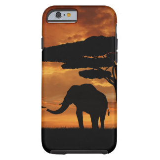 African elephants silhouettes in sunset tough iPhone 6 case