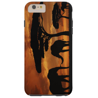 African elephants silhouettes in sunset tough iPhone 6 plus case