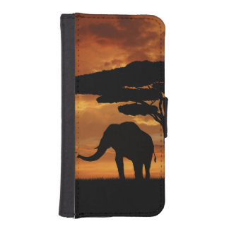 African elephants silhouettes in sunset wallet phone case for iPhone SE/5/5s