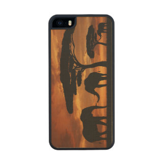 African elephants silhouettes in sunset wood iPhone SE/5/5s case