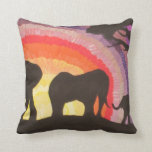African Elephants @ Sunset (Kimberly Turnbull Art) Throw Pillow