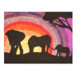African Elephants Sunset (Kimberly Turnbull Art) Postcard