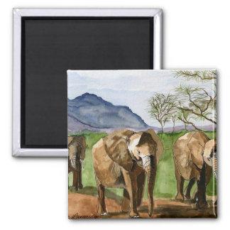 African Elephants Watercolor Painting Artwork Magnet