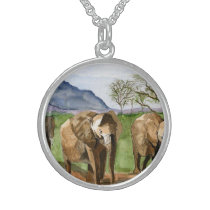 African Elephants Watercolor Painting Artwork Sterling Silver Necklace