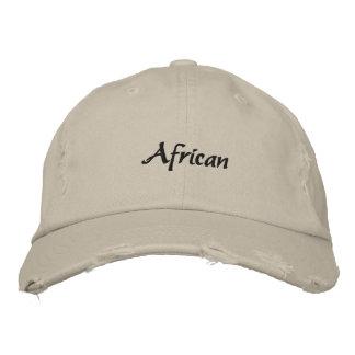African Embroidered Dark Text Baseball Cap