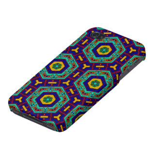 African ethnic mosaic warm colors blue green iPhone 4 cases