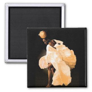 African Folk Dance 2 Inch Square Magnet