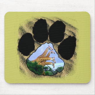 African Footprint 4 Giraffes Collage Mouse Pad