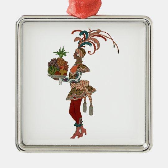 African Fruit Lady - Vintage Illustration Metal Ornament