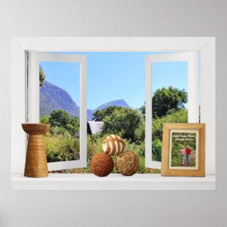 African Garden View -- Customizable Open Window Posters