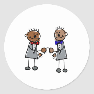 African Gay Couple Classic Round Sticker