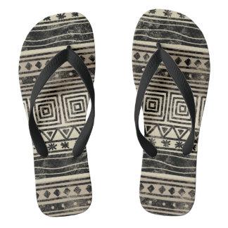 African Geometric Pattern Flip Flops