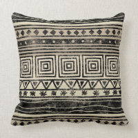 African Geometric Pattern Throw Pillow