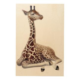African Giraffe at Rest Wood Wall Art